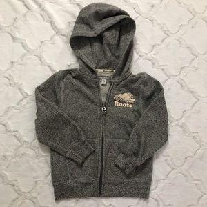 Roots gray zip front hoodie sweatshirt